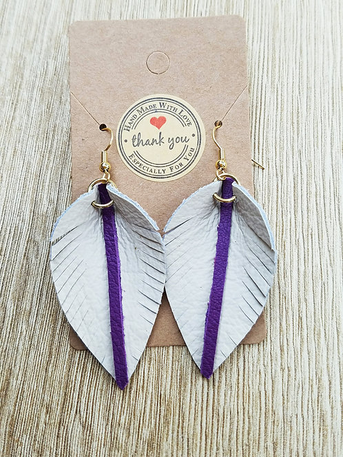 Feather Leaf Leather Earrings