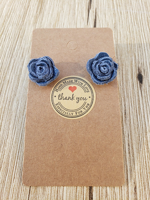 Blue Leather Rose Stud Earrings