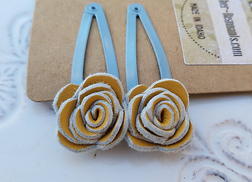 Yellow and Blue/Grey Hair clips