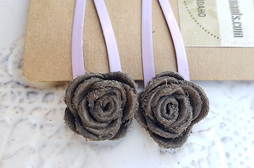 Grey/Brown and Purple Leather Hair Clips