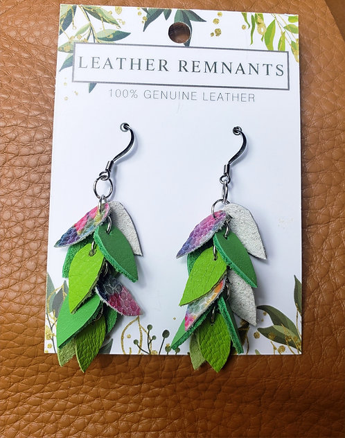 Green and Floral Dangly Earrings