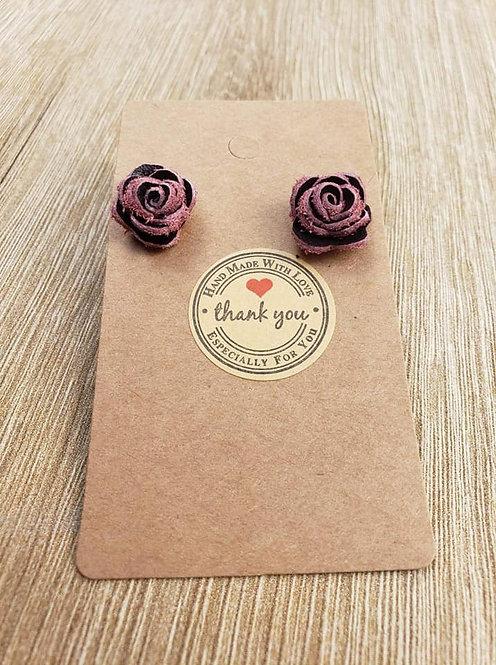 Black Cherry Rose Stud Earrings
