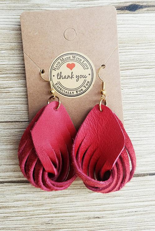 Red Leather Twirl Earrings