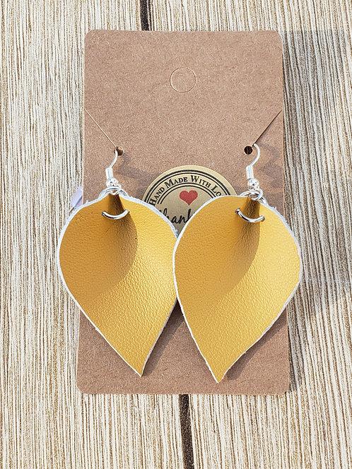 Yellow Leather Teardrop Earring