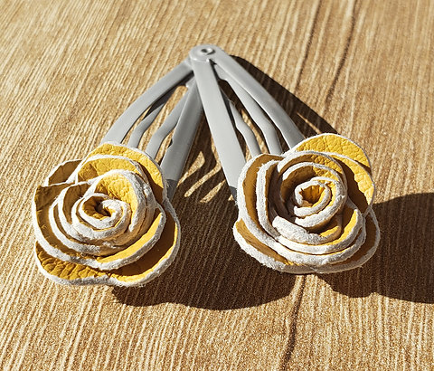 Genuine Leather Rose Hair Clips