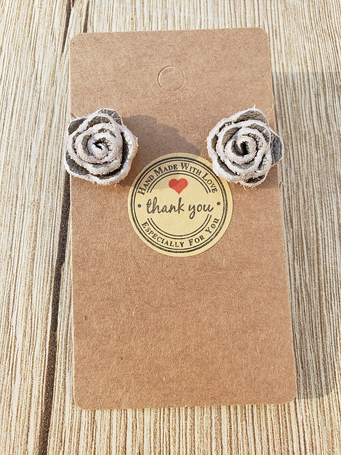 Grey and Metallic Leather Stud Earrings