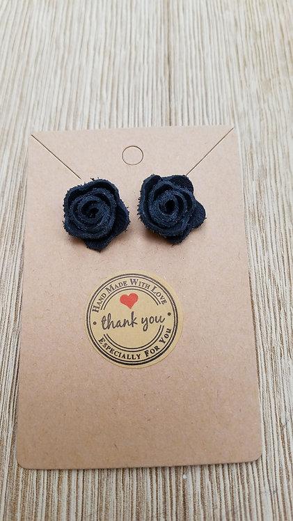Black Leather Stud Rose Earrings