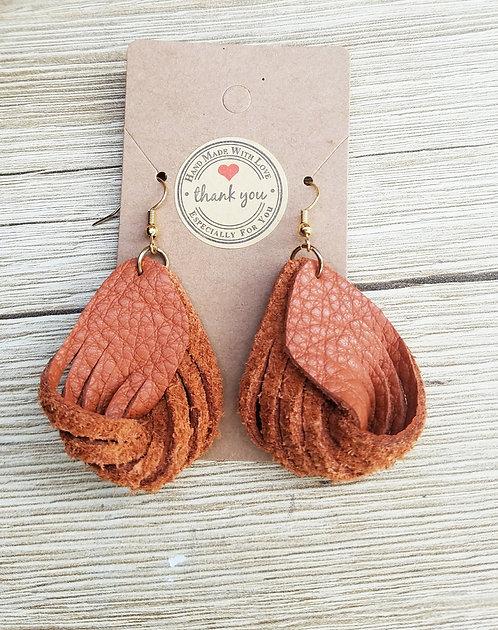 Orange Leather Twirl Earrings
