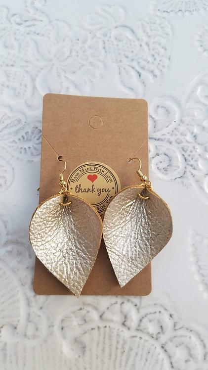 Metallic Leather Teardrop Earrings