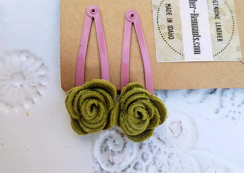 Green and Pink Leather Hair Clips