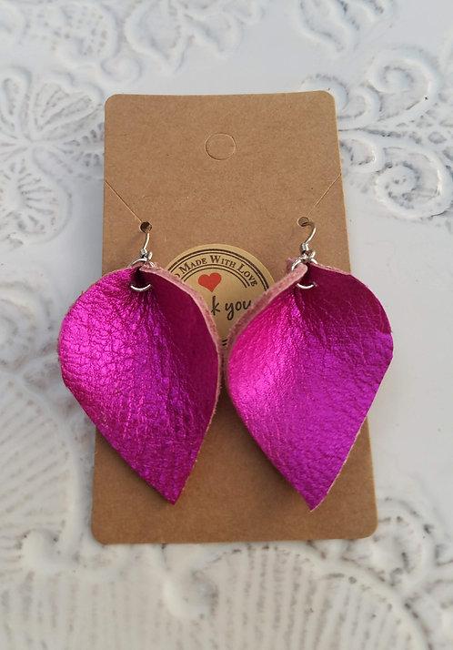 Metallic Hot Pink Leather Teardrop Earring