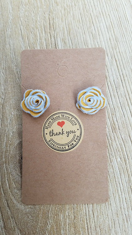 Yellow Leather Rose Stud Earrings