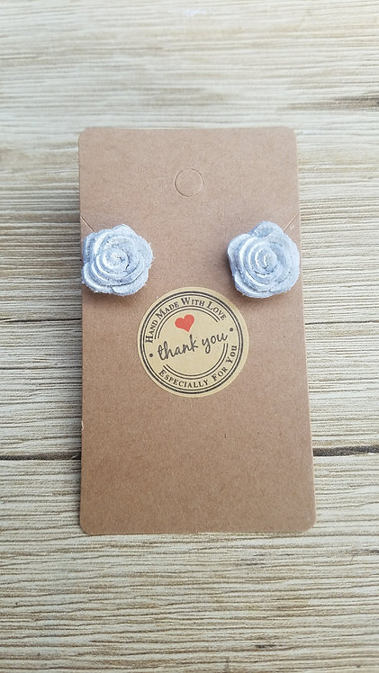 White Leather Rose Stud Earrings