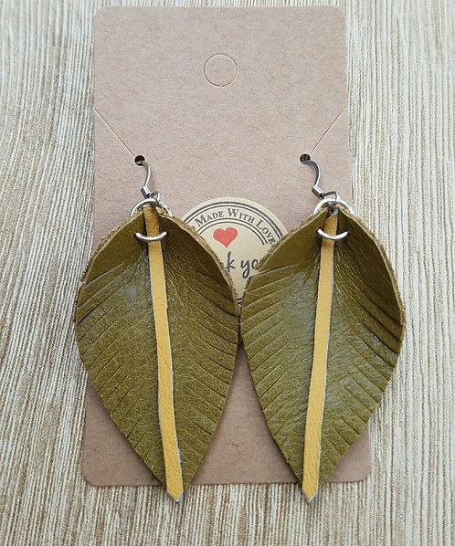 Green and Yellow Leaf Earrings