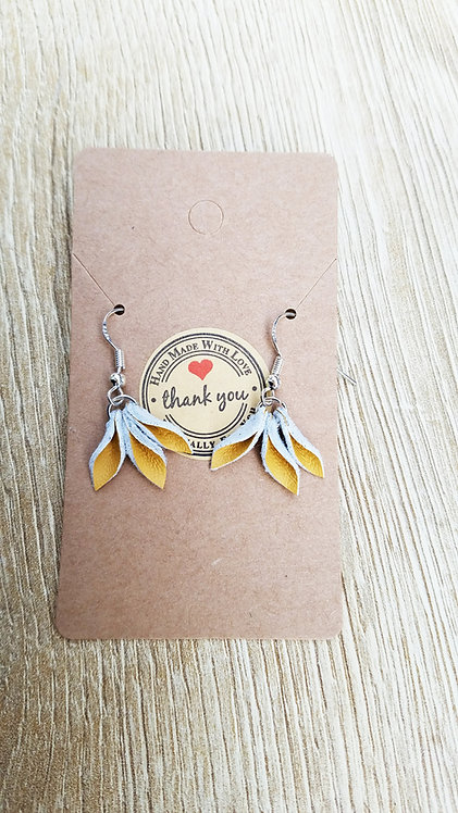 Yellow Flower Leather Earrings