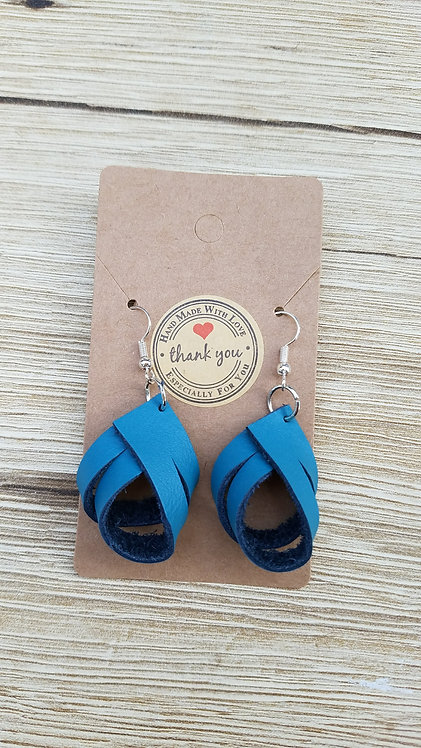 Teal Leather Mini Twirl Earrings