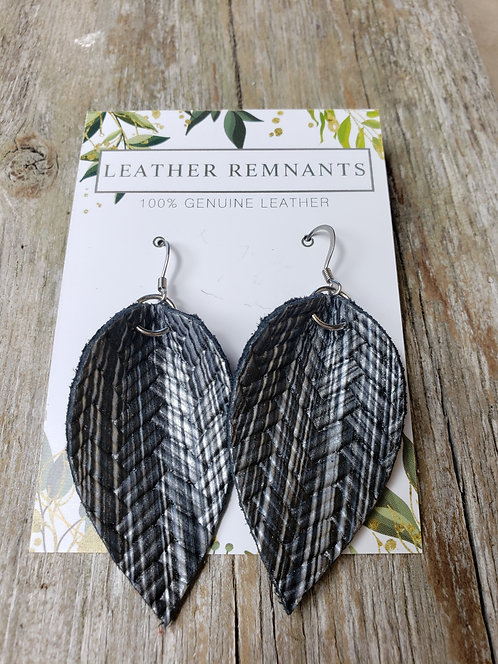 Textured Gray and Black Leaf Earring