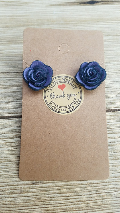 Purple and Black Leather Rose Stud Earring