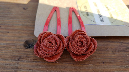 Orange/Red Leather Hair Clips