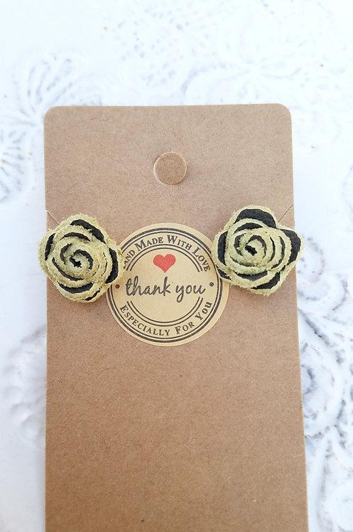 Light/Dark Green Leather Rose Stud Earrings