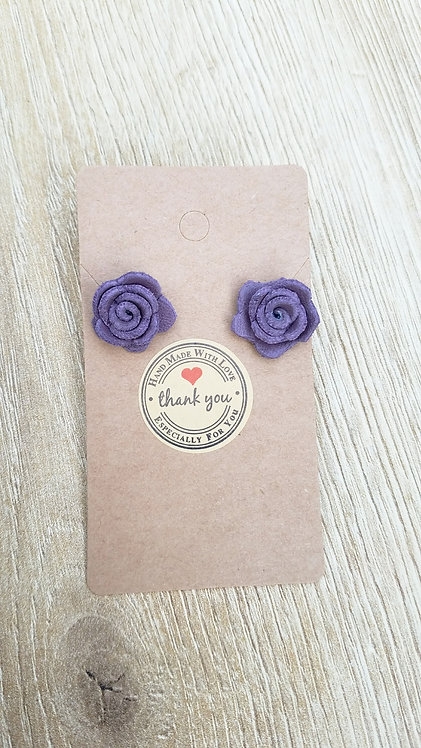 Purple Leather Rose Stud Earrings