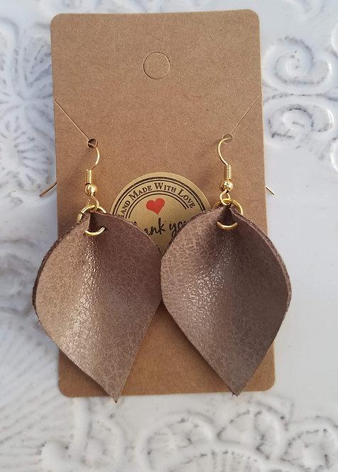 Brown Leather Teardrop Earring
