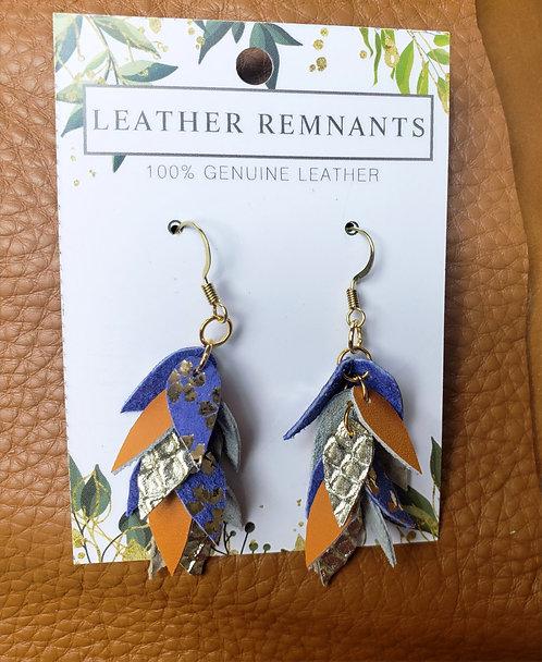 Orange Purple and Gold Dangly Earrings