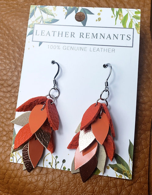 Orange and Rose Gold Dangly Earrings