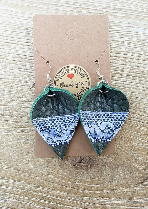 Green Leather  and Lace Earrings