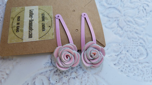 Pink Leather Hair Clips