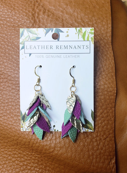 Gold Purple and Mint Dangly Earrings