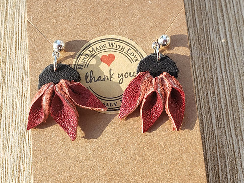Dangly Leather Flower Earrings