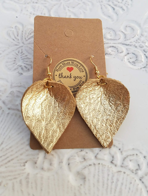 Gold Metallic Leather Teardrop Earrings