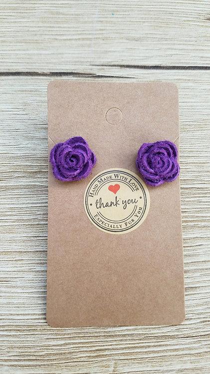 Purple Leather Rose Stud Earrings