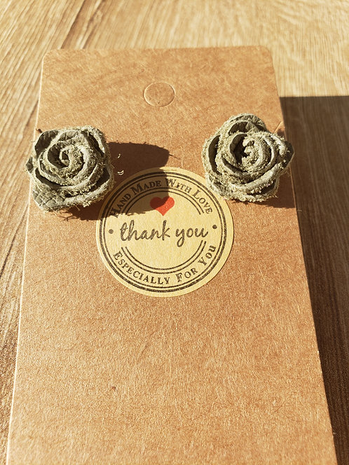 Sage Green Leather Stud Rose Earrings