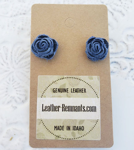 New Blue Leather Rose Stud Earrings