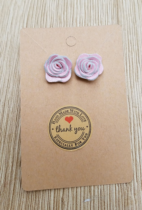 Pink Leather Stud Rose Earrings