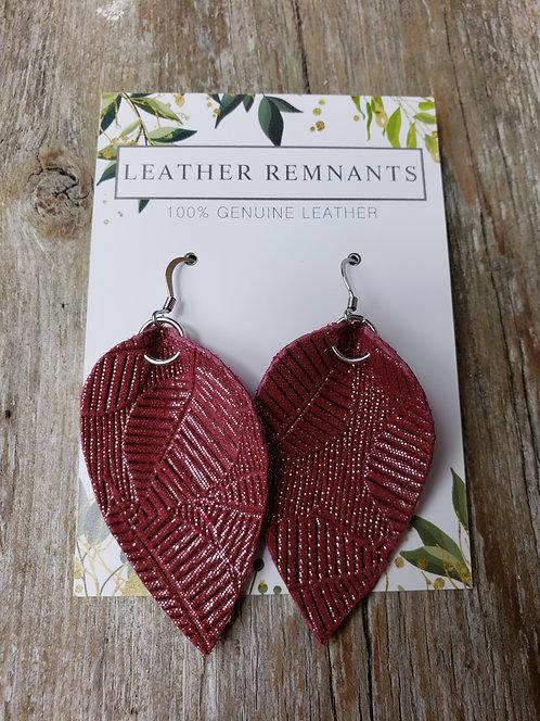 Textured Red Leaf Earrings