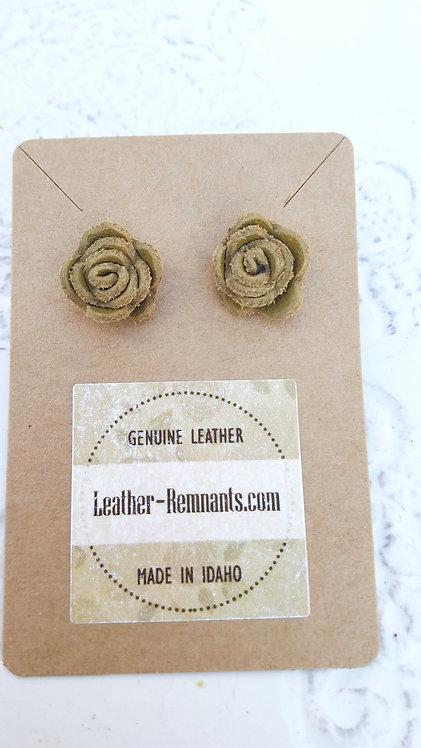 Swamp Green Rose Stud Earring
