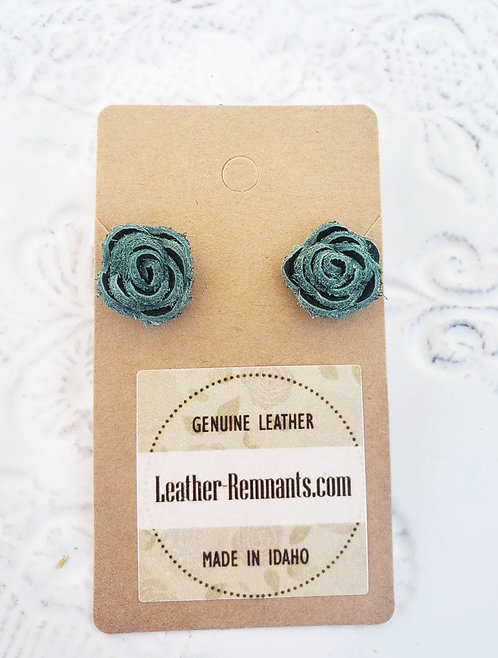 Forest Green Leather Stud Earrings