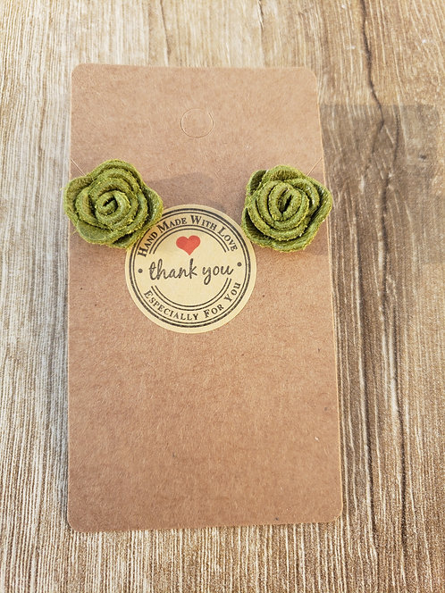 Green Leather Stud Rose Earrings