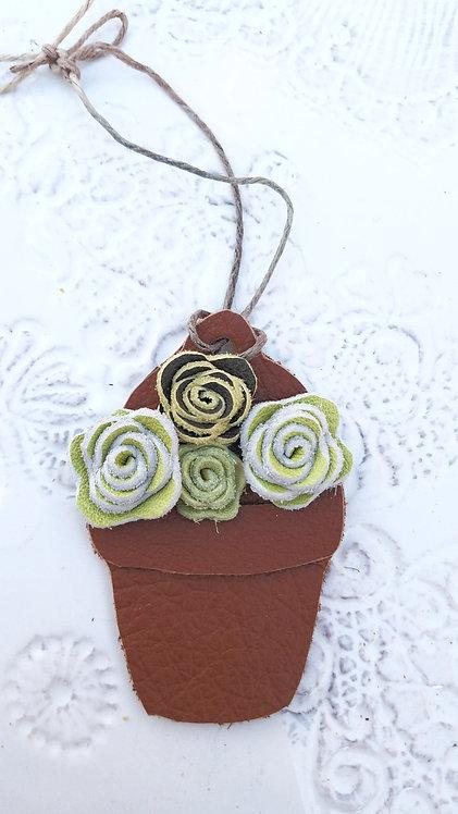 Flower Pot of Succulents Christmas Ornament