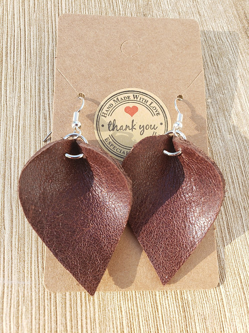 Classic Brown Leather Earrings