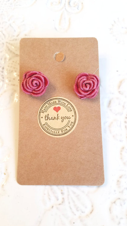 Pinky Red Leather Rose Stud Earrings