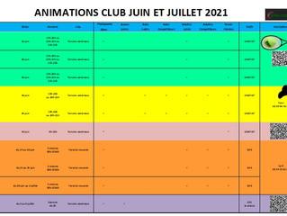 Les animations de votre club sur juin/juillet 2021