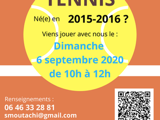 Animation mini tennis - rentrée septembre 2020