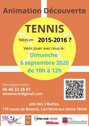 Animation mini tennis - rentrée septembre 2020