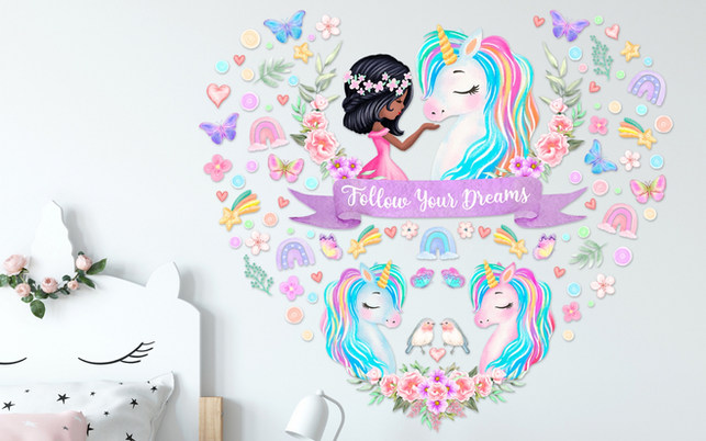 Unicorn Wall Decals For Black Girls Bedroom with Follow Your Dreams Inspirational Quote on White Walls
