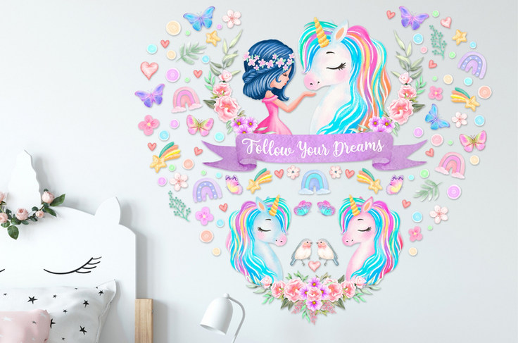 Unicorn Wall Decals For Girls Bedroom with Follow Your Dreams Inspirational Quote on White Walls