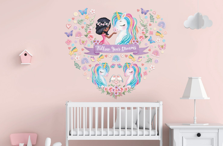 Unicorn Wall Decals For Black Girls Room Nursery with Follow Your Dreams Inspirational Quote on Pink Walls